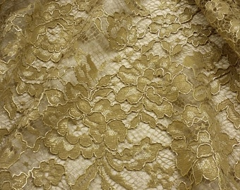 Gold lace fabric by the yard, French Lace, Embroidered lace, Wedding Lace, Bridal lace, Evening dress lace Lingerie Lace Alencon Lace L21930