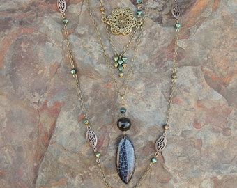 3 Necklace Set - Black Dragon Veins Agate Pendant & Floral Charm