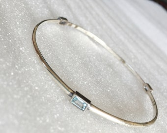 Ross Simons emerald cut blue topaz sterling silver bangle bracelet