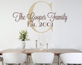 Family Wall Decal, Family Monogram Decal, Wedding Decal, Vinyl Wall Monogram