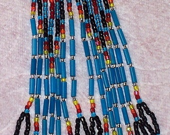 Native American Beaded Blue Chandelier Earrings