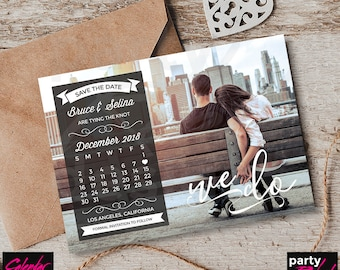 Calendar Save The Date, Photo Save The Date, Save The Date Invitation, Calendar Invitation, Photo Invitation, Printable Save The Date, STD17