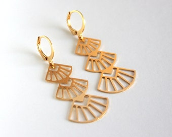 Ally gold plated earrings/ Art Deco style/ Gatsby Collection