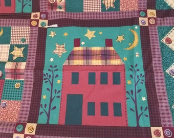 Quilt Block Look Cotton Fabric Houses Patchwork 1 Yard  X1271