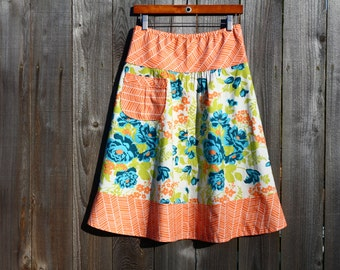 Semi Gathered A-Line skirt, Rose Bouquet in Carrot, New Joel Dewberry Flora, Create your perfect skirt, Custom Made, All Sizes XS to Plus