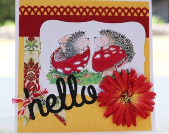 Hello Hedgehogs 3D Greeting Card