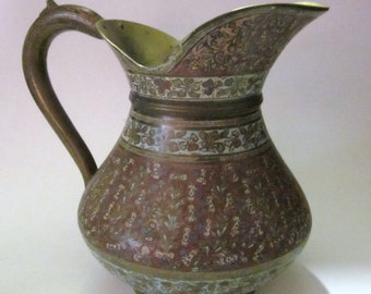 Lovely vintage etched enamel  water pitcher, marked India