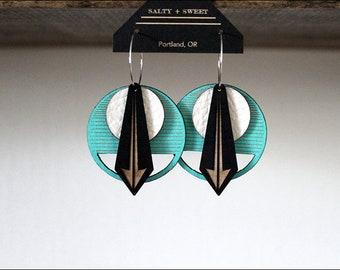 Laser cut earring | ARROW: Turquoise