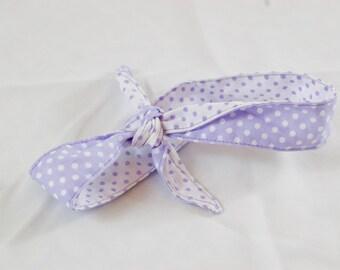 Lavender Purple Polka Dot 4-Way Reversible Headband