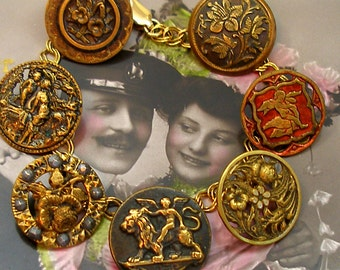 "Cupids Garden Antique BUTTON charm bracelet, Victorian Eros & flowers on gold. 8"" Antique button jewelry, jewellery."