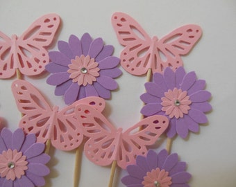Flower Cupcake Toppers - Lavender Daisies and Pink Butterflies - Girl Birthday Parties - Girl Baby Showers - Set of 12