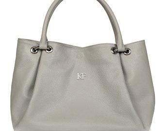 Leather Hobo Bag, Grey Leather Hobo Bag, Women's Leather Hobo Purse KF-431