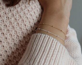 Keira (Silver)  - dainty minimalist layering sterling silver beaded bracelet