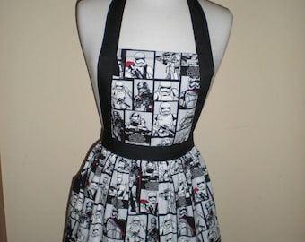 Candy striper style vintage apron storm trooper Star Wars print great for kitchen teas bridal showers cotton fabric Ready to ship