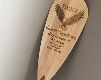 Custom Engraved Canoe Paddle for Eagle Scout Gift or Award