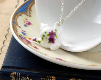 Floral Teapot Necklace - Mothers Day Necklace - Teapot Jewellery