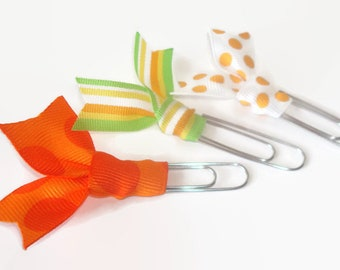 Orange Yellow Green Planner Clips - Polka Dot Stripes Ribbon Paper Clip Desk Accessories for Women - Cute Paperclip Party Favors - PC066