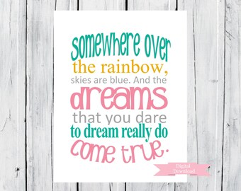 Nursery Decor  Somewhere over the Rainbow -  Custom Size and Colors -  DIgital Print