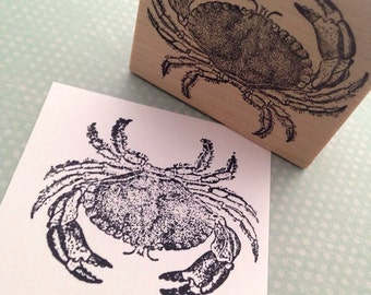 Blue Crab Rubber Stamp Handmade by 100 Proof Press 4606