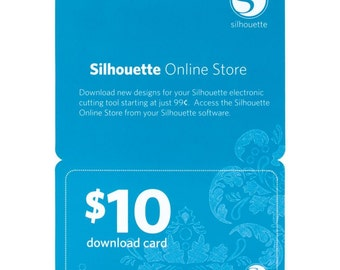 Silhouette Portrait or Cameo 10.00 (Ten Dollar) Electronic DIGITAL DOWNLOAD Card