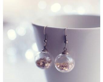 Modern earrings Glass globe earrings,star earrings,Glitter earrings,orb earrings,cute jewelry,delicate earrings,Inspirational Gift for women