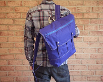 Water Repellent Canvas Unisex Commuter Backpack in Royal Blue - Vegan Padded Rucksack/ Back to School