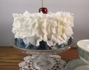 White and Blue Blueberry Faux Flower Petal Cake With a Cherry on Top Fake Cake Birthday Cake Display Cake