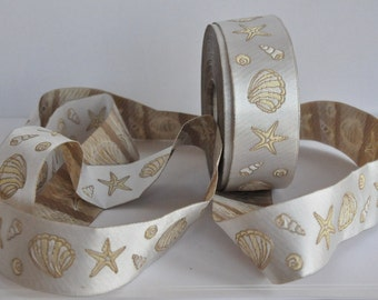 CLEARANCE SALE  50 discount    Satin Jacquard Ribbon Trim with nautical shell and star decorations