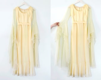 Vintage Yellow Chiffon Gown Flare Sleeves Dress Floor Length Bell Sleeves 60s 70s boho
