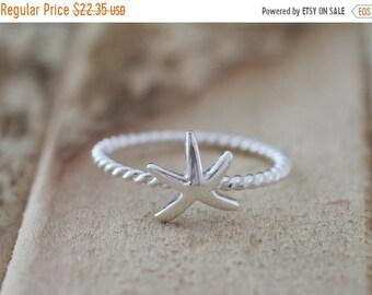 Mothers Day Sale Mermaid. Sterling Silver mini Starfish petite Midi Ring