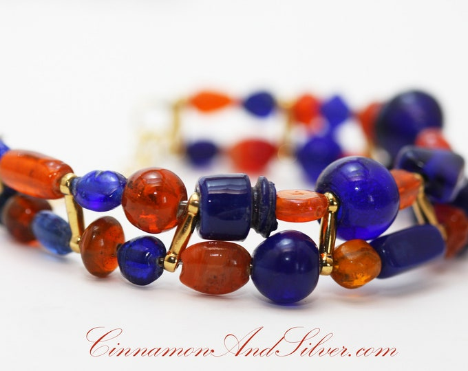 Modern Tribal Blue and Orange Glass Bead Memory Wire Bangle Bracelet, Bold Color Glass Bead Bracelet, Colorful Glass Beaded Bangle Bracelet