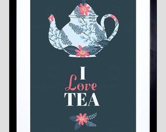 "Tea Quote Print - Teapot Love Framed 12X16"" Typography Home Decor  F12X10778"