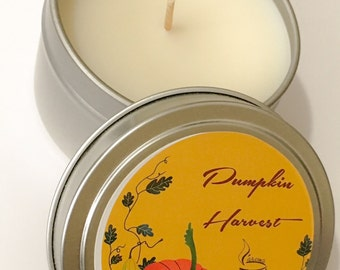 Pumpkin Harvest, Scented Candle,Tin Candle, Handmade by L'aroma