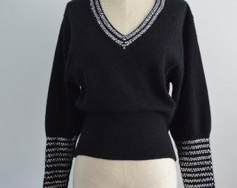 Vintage LILLIE RUBIN SPARKLING Sequined Black Knit Long Sleeve Sweater