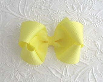 4 inch Yellow Boutique Bow, Girls ~ Toddlers Yellow Hair Bow