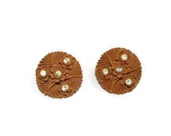 Vintage Taupe Color Rhinestone Detail Clip On Earrings