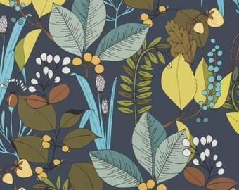 Fabric by the Yard --  Ghastlie Botanical in Dark Blue