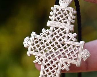 """African cross necklace 18"""", African cross men, Ethiopian necklace, Axum cross,"""