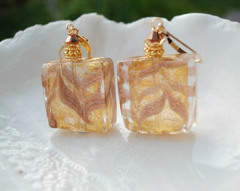 Murano Glass Aventurina Fenico Earrings