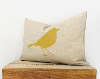 Lumbar 12x18 or 16x16 Decorative Bird Pillow Case in Mustard Yellow and Natural Beige Linen | Modern Woodland Accent Cushion Cover