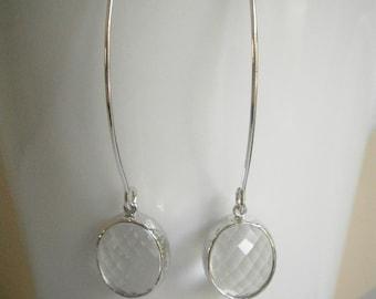 Clear Crystal Earrings, Silver Earrings, Best Friend, Birthday, Mom, Sister, Wife