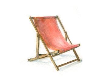 Waterolor Beach Chair, Beach Chair Print