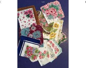 10 Vintage Floral Handkerchiefs - Lot W2