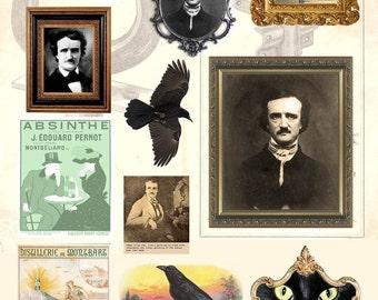 Feuille de Collage numérique de Poe - téléchargement immédiat - Halloween - Portraits, Raven, chat noir - imprimable