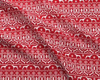Greyhound Fair Isle Fabric - Cute Christmas Ugly Sweater Design Holiday By Petfriendly- Red White Cotton Fabric by the Yard with Spoonflower
