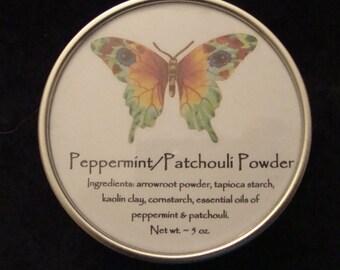 Peppermint/Patchouli Powder, Powder, Body Powder, Natural Powder, Talc Free Powder, Dusting Powder, Bath & Body Powder, Handcrafted Powder