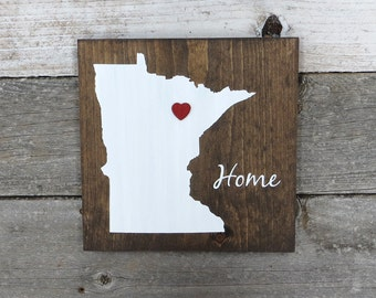 """All States Available, Rustic Hand Painted """"Home State"""" Wood Sign, Minnesota State Home, Home State Pride - 9.25""""x9.25"""""""