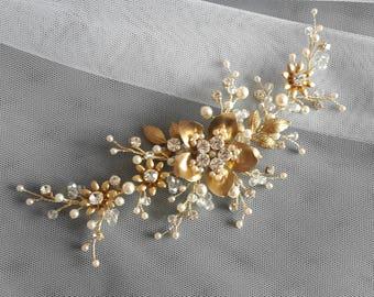 Ivory Gold hair vine Bridal Headpiece Gold crystal headpiece Ivory Pearl comb Wedding Hair Vine Bridal Hair Vine Crystal Pearl Headpiece