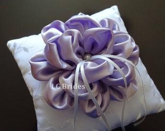 Wedding Ring Bearer Pillow, Lavender Flower, White, Lavender, Embroider, Custom