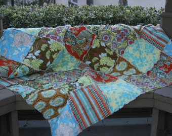 Queen Size Quilts - Queen Bedding - Rag Quilt - Blue Queen Quilt - Taupe Bedding - Custom Quilt For Bed - Queen Size Blanket